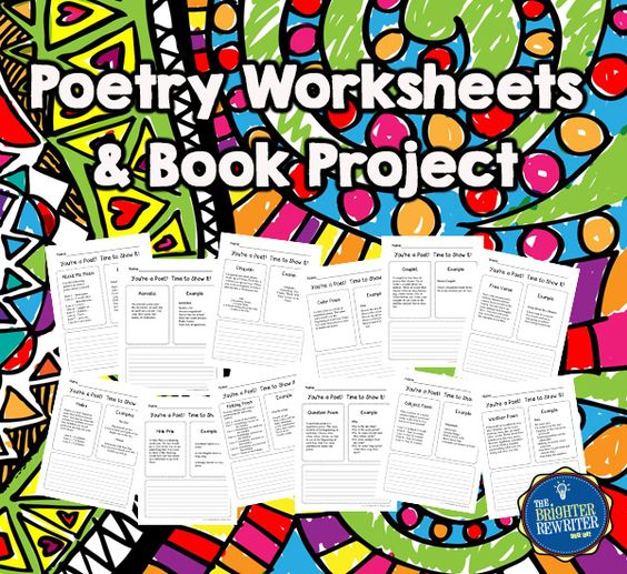Poetry Book includes 12 different poetry worksheets and 2 different parent notes for the book project. Each worksheet includes a definition of the type of poem, an original example, and space for students to work on their own compositions. Perfect for an anytime poetry unit, National Poetry Month project, Young Author's Day project, or as a fun end of year activity!