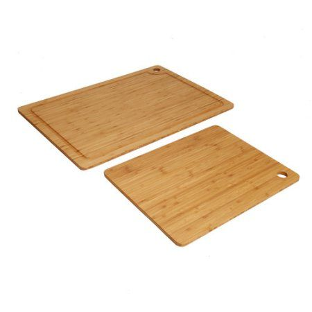 Seville Classics 2-Piece Bamboo Cutting Board Set, Brown