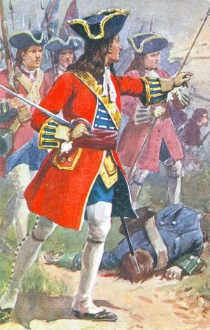 British Foot advancing to the attack at the Battle of Blenheim.