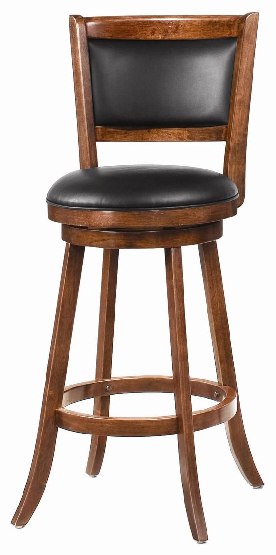 Furniture Cheap And Cool Leather Swivel Bar Stool With Back Design And Cool Wood Frame Also Soft