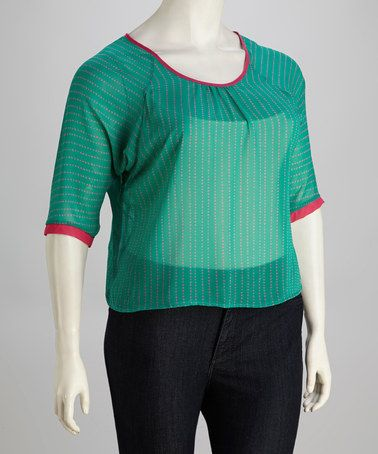 Take a look at this Teal & Pink Polka Dot Plus-Size Top by Jazzy Martini on #zulily today!
