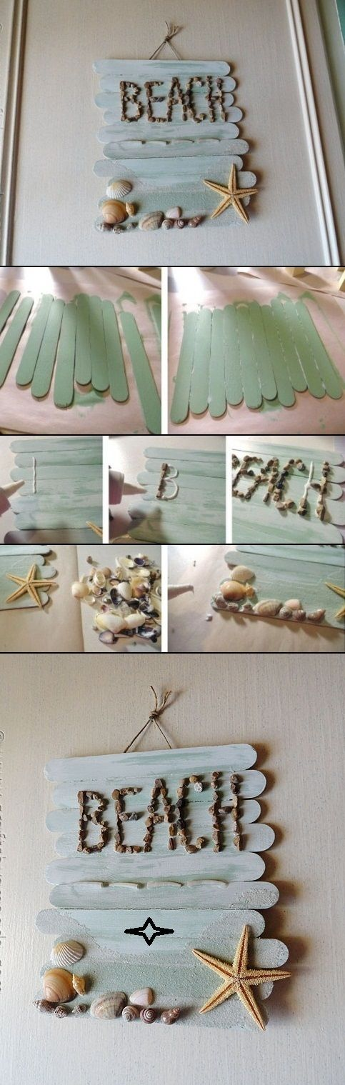 Beach Craft Ideas For Kids Part - 26: Popsicle Stick Beach Sign | Popsicle Stick Crafts, Stick Crafts And Craft