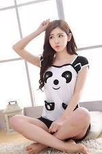 Summer Womens Short Sleeve Cartoon Panda Sleepwear Pajama:
