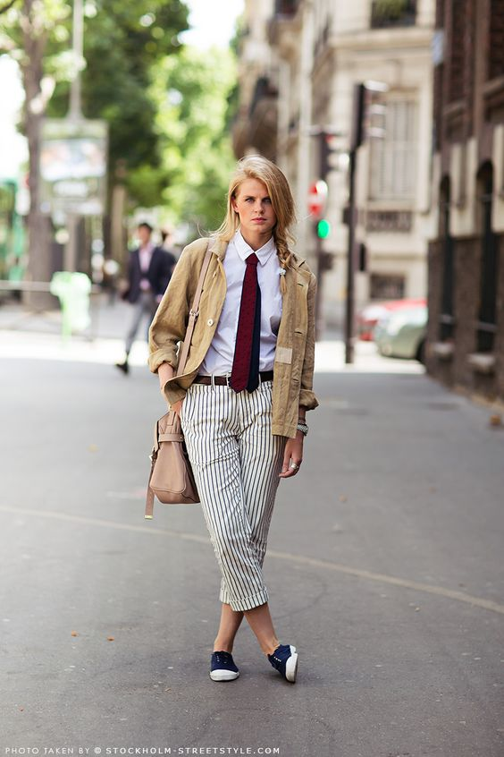 #StreetStyle raid your boyfriends wardrobe. cool. Karolina in Paris.