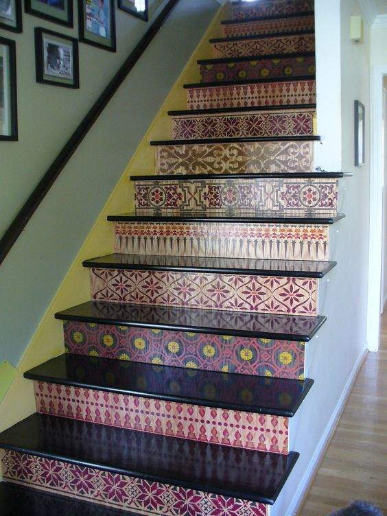 "I finished! Yes, these are my stairs. I have never done any crafts nor artwork before. I was inspired by Melanie Royals' designs and able to do this via her stencils (many of her staircases are on my board ""Staircase Obsessions""). Have finishing touches to do, but... am thrilled!:"