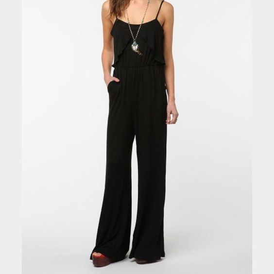 Coincidence and Chance Black Jumpsuit Urban outfitters black jumpsuit. Elastic waistband, adjustable straps, cotton, flared legs. Runs slightly big.  Wear and tear, extremely discounted down. Pilling can be fixed with lint roller. Barely worn, just washed with the wrong things. Urban Outfitters Pants Jumpsuits & Rompers