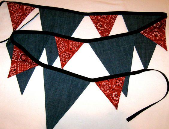 Western Cowboy Fabric Bunting Banner - Birthday Parties Room/Nursery Decor Photo Prop - Denim & Red Bandana -