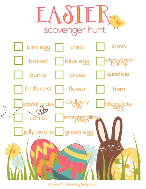 Once the Easter baskets have been torn apart and the egg hunt is over, you can entertain the kids with this free Easter Scavenger Hunt printable.: