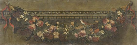 Scuola romana del XVIII secolo - Tre sovrapporta raffiguranti «Festoni e uccelli» - Olio su tela - cm. 48x144 ognuno