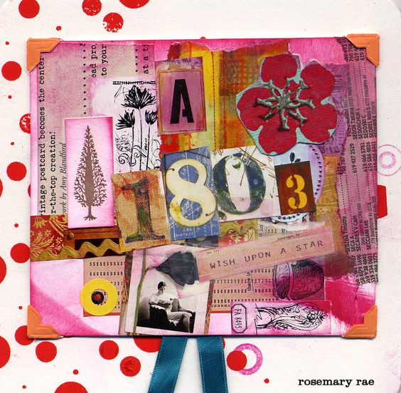 collage created for a friend— old ribbon, scraps and paint.