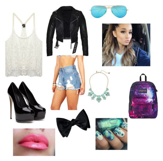 """""""Cute rocker look"""" by nasha-2 on Polyvore featuring Wet Seal, JanSport, Ray-Ban and Kate Spade"""