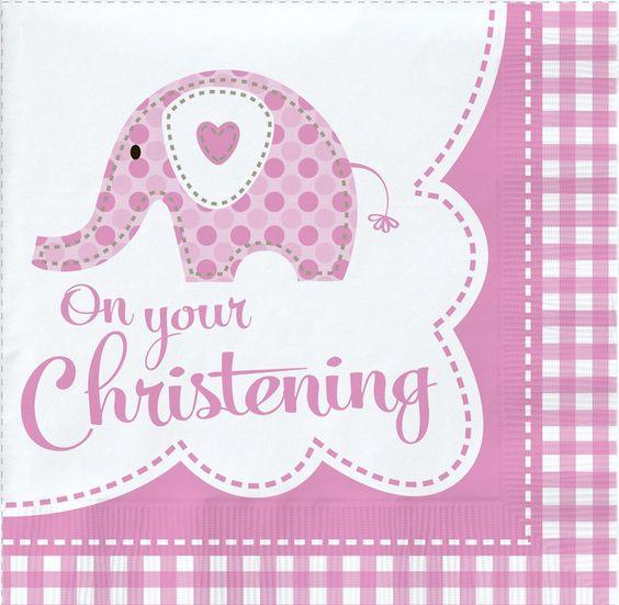 Pink Elephant On Your Christening Napkins - 18pk