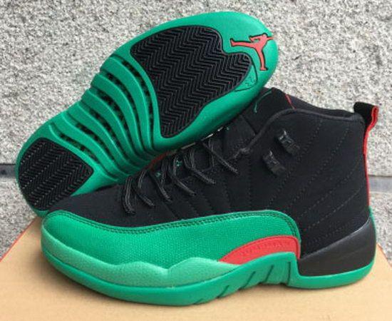 Air Jordan Retro 12 Black Green Orange