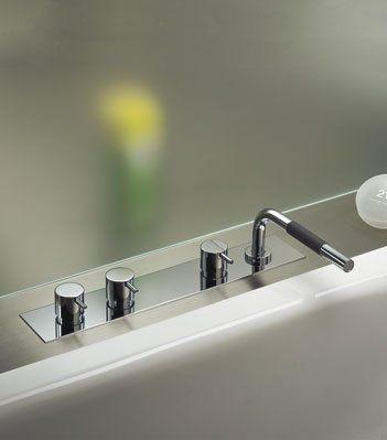 Vola BK4A 16 Chrome Two Handle Tub Faucet Control Less Spout. Vola BK4A 16 Chrome Two Handle Tub Faucet Control Less Spout