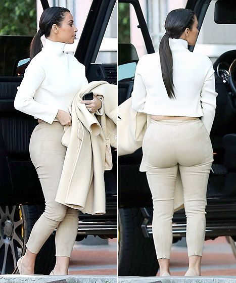 What is she even wearing? Is that even remotely in style? Is that a good look for your bum? ANYONE's bum? Kim Kardashian at a hotel for a meeting on Feb. 10, 2014