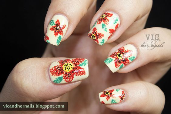 Nailpolis Museum of Nail Art | Floral Pointilism by Victoria Oen