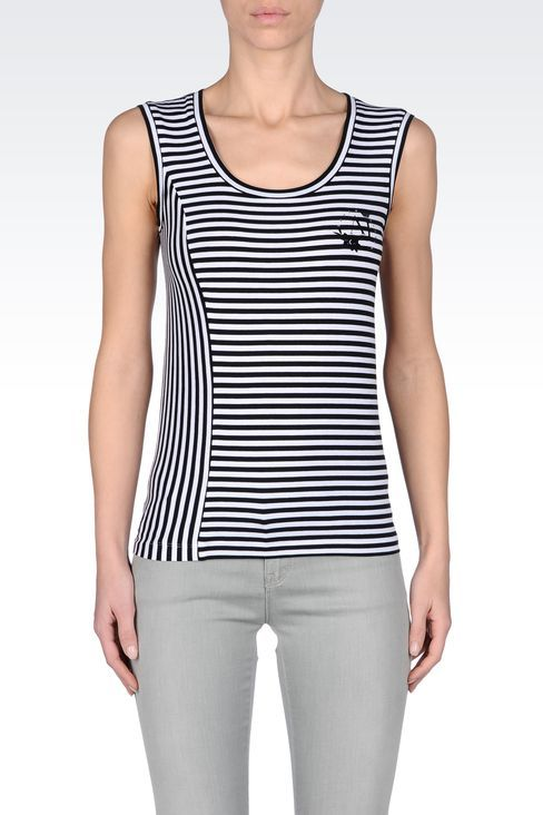 Armani Jeans Women Tank Top - STRIPED JERSEY TOP Armani Jeans Official Online Store