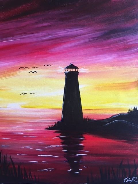 Lighthouse Sunset Acrylic Canvas By Painted Studios Sunset Canvas Painting Sunset Painting Landscape Paintings Acrylic