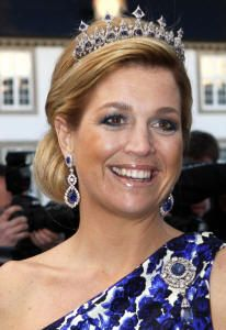 Crown Princess MAxima wearing the Dutch Sapphire Necklace as a Tiara