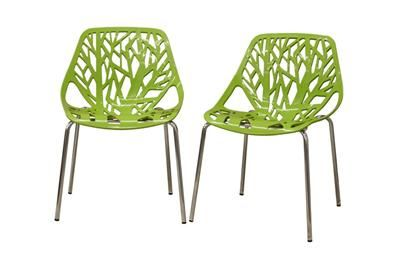 Birch Sapling Green Plastic Modern Dining Chair (Set of 2)| Affordable Modern Furniture in Chicago