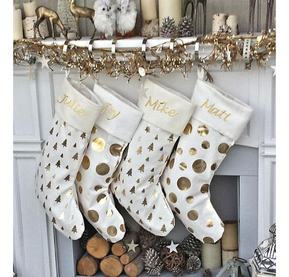 21 Glam Dots Trees GOLD FOIL Ivory White Elegant Christmas Stockings - Personalized with Names in Holiday Metallic Embroidery - Modern & Trendy- -shimmer that is elegant and will surely add to a sophisticated holiday decor. The listing is for ONE stocking, we have pictured all three colors