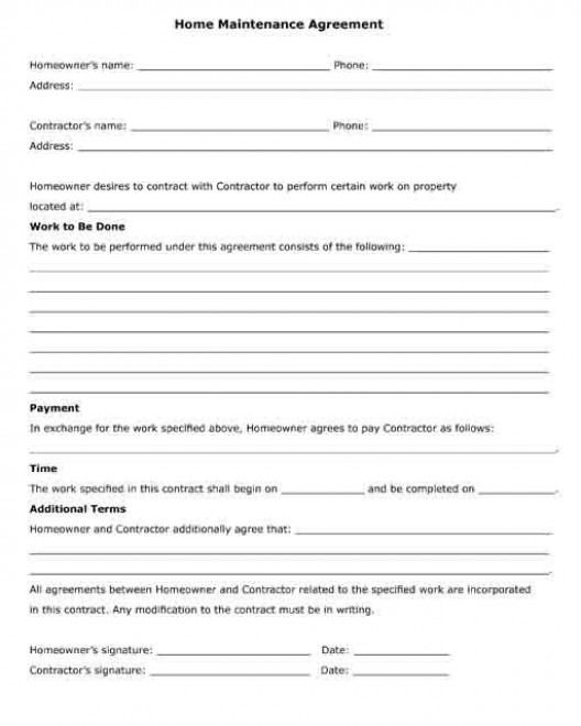 Home Maintenance Agreement Between A Contractor And A Homeowner