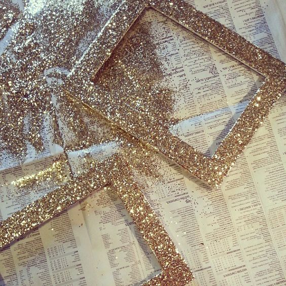 I could $ store and thrift shop frames in different styles and glitter blast in gold silver and white for the pictures/fun facts: