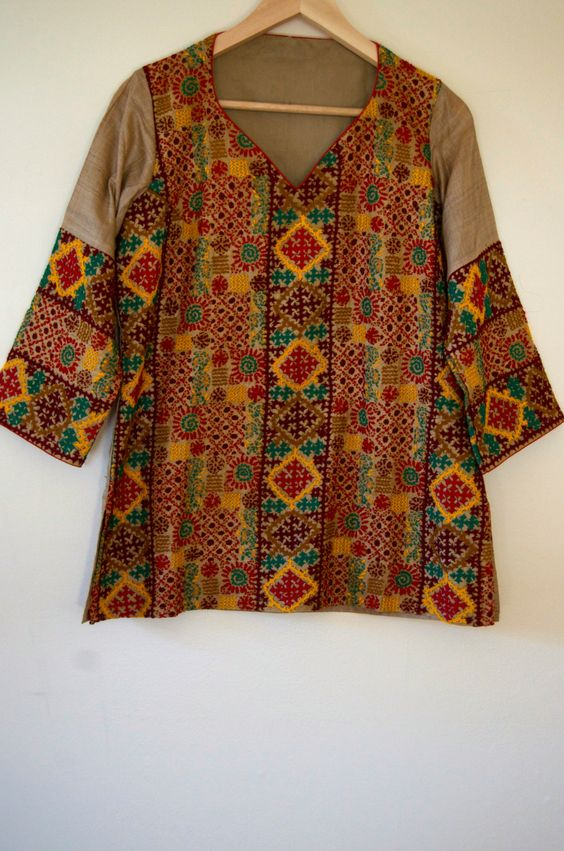 Kutch work on classy tussar kurti top for women size m