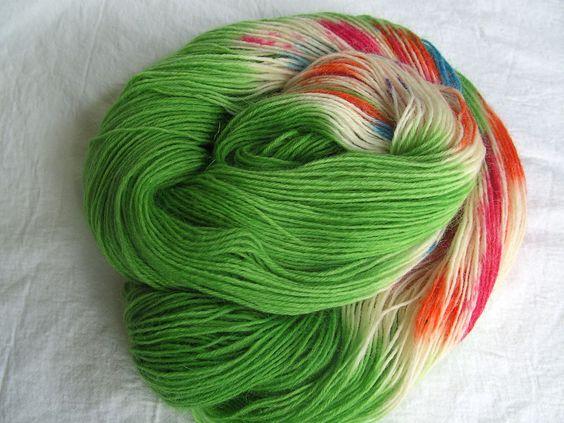 ♥ Sockenwolle 100g ♥ Schurwolle 75% ♥ Handgefärbt ♥ Made by Aleinung ♥ (094)