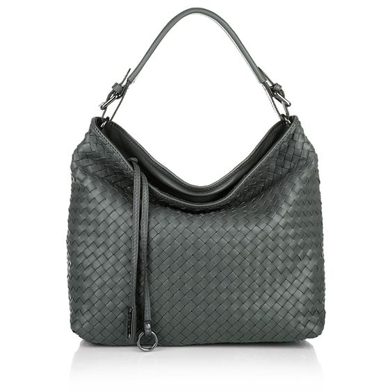 Pluma Intrecciato Leather Handbag Grey