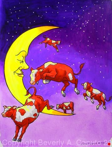 Moon Cows #1 by Beverly Caputo Watercolor ~  x