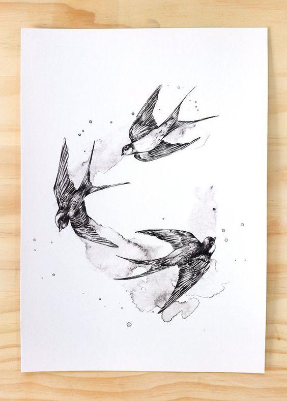 Black swallows bird print a4 contemporary art print of for Swallow art tattoo