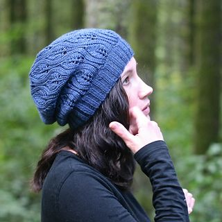 A slouchy hat that is quick to knit with a lace leaf pattern easy enough for a knitter's first lace project but still interesting to keep the attention of more experienced lace knitters.