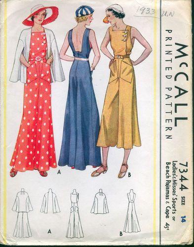 (Sort of a bathing costume...) 1933 McCall Pattern Beautiful Beach Pajamas and Sports Cape | eBay
