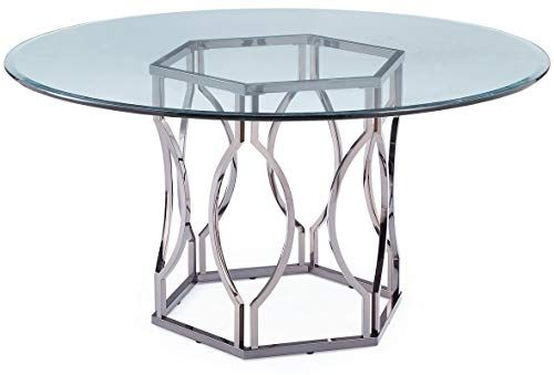 Iron Hexagon Base Dining Table Circular Dining Table With Glass