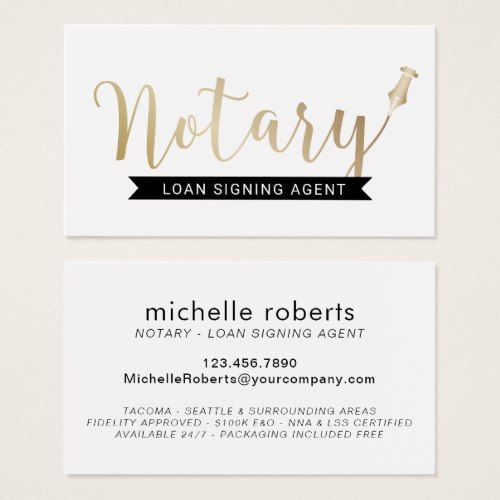 Notary Loan Signing Agent Elegant Gold Script Business Card Zazzle Com Loan Signing Agent Loan Signing Notary Signing Agent