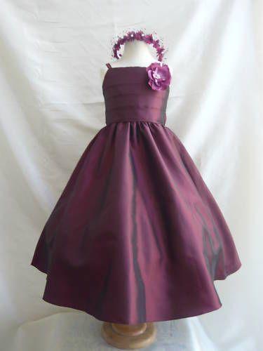 Burgundy flower girl bridal dress Sz 1 2 4 6 8 10 12 14