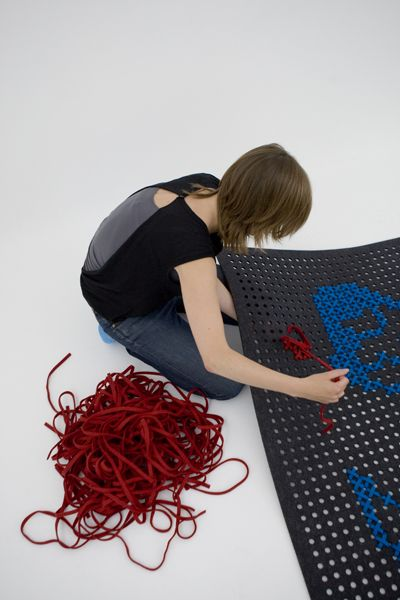 create your own rug design with embroidery: Cross Stich, Giant Cross, Stitched Rug, Felt Embroidery, Diy Rugs