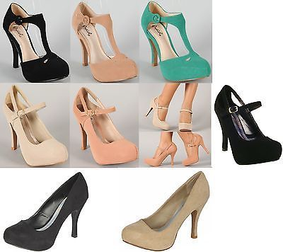 BLACK NUDE GREEN LOW HEEL PLATFORM ANKLE T STRAP NUBUCK CLOSED TOE ...
