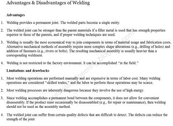 Advantages \ Disadvantages of Welding Mechancial Engineering - welder job description