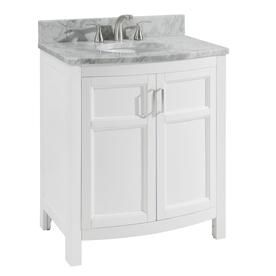 Allen Roth Moravia 30 In White Single Sink Bathroom Vanity With Natural Carrara Marble Top Lowes Com Single Sink Bathroom Vanity Bathroom Sink Vanity Bathroom Vanity