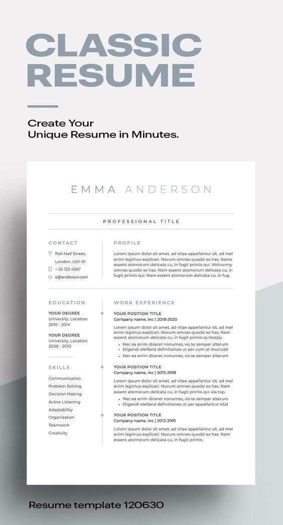 Classic Resume Template 120630 Blue In 2021 Minimalist Resume Template Modern Resume Template Minimalist Resume