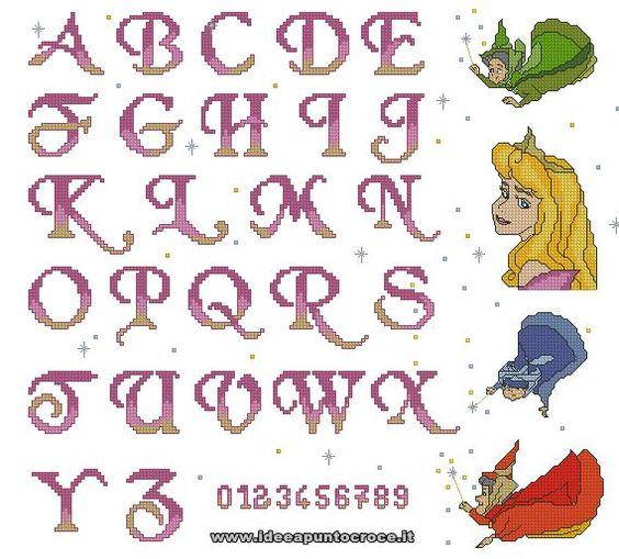 Alfabeto aurora e fatine punto croce alfabetos ponto for Alfabeto disney a punto croce