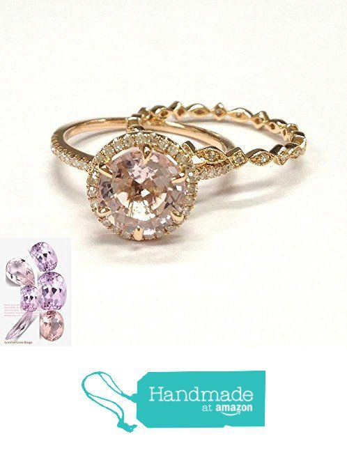 Round Morganite Engagement Ring Sets Pave Diamond Wedding 14K Rose Gold 8mm from the Lord of Gem Rings https://www.amazon.com/dp/B01H2CASKU/ref=hnd_sw_r_pi_dp_b8iyxbF660ZMX #handmadeatamazon