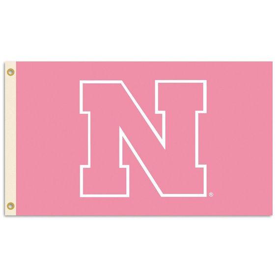 Nebraska Cornhuskers 3 Ft. X 5 Ft. Flag W/Grommets - Pink Design