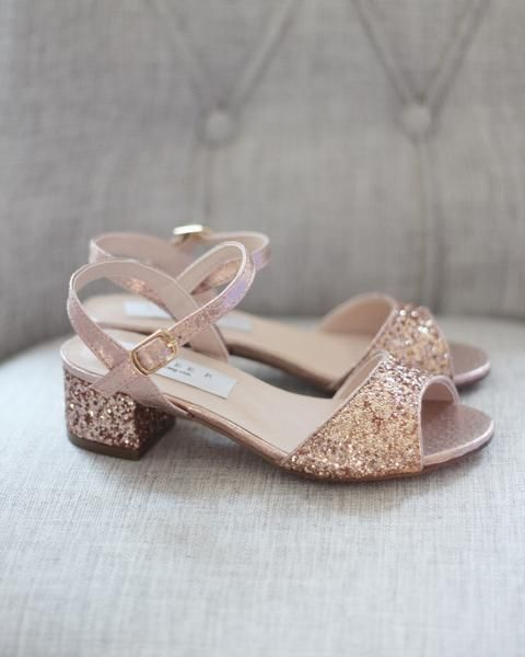 New girl/'s formal dress wedding open toe shoes buckle closure champagne gold