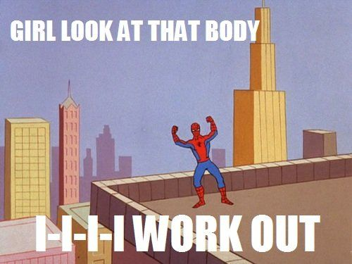 Spidey works out.