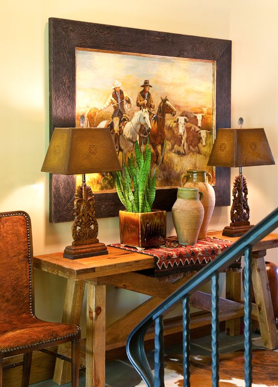 Furniture western theme and rigs on pinterest for Western dining room tables
