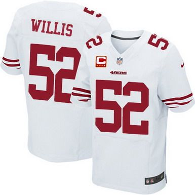 Nike San Francisco 49ers #52 Patrick Willis White C Patch Elite Jersey