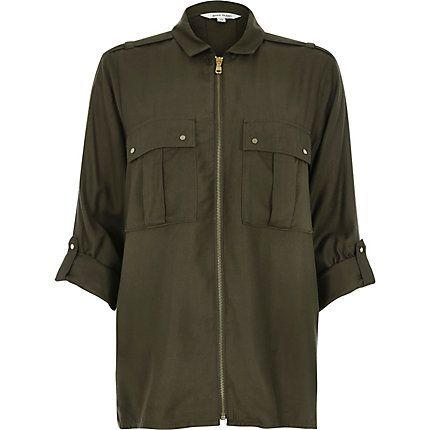 Khaki military zip up shirt £35.00